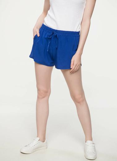 DeFacto Elastik Bel Mini Şort Mavi